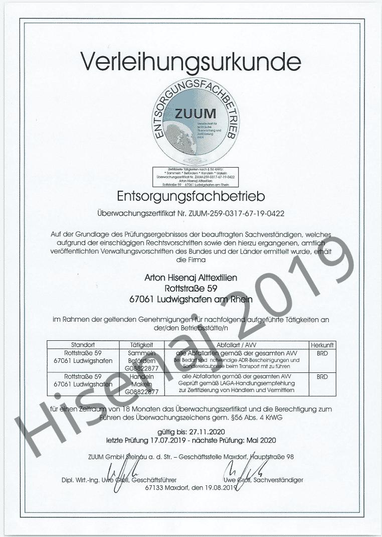 Entsorgungsfachbetrieb Zertifikat 2019 bis 2020